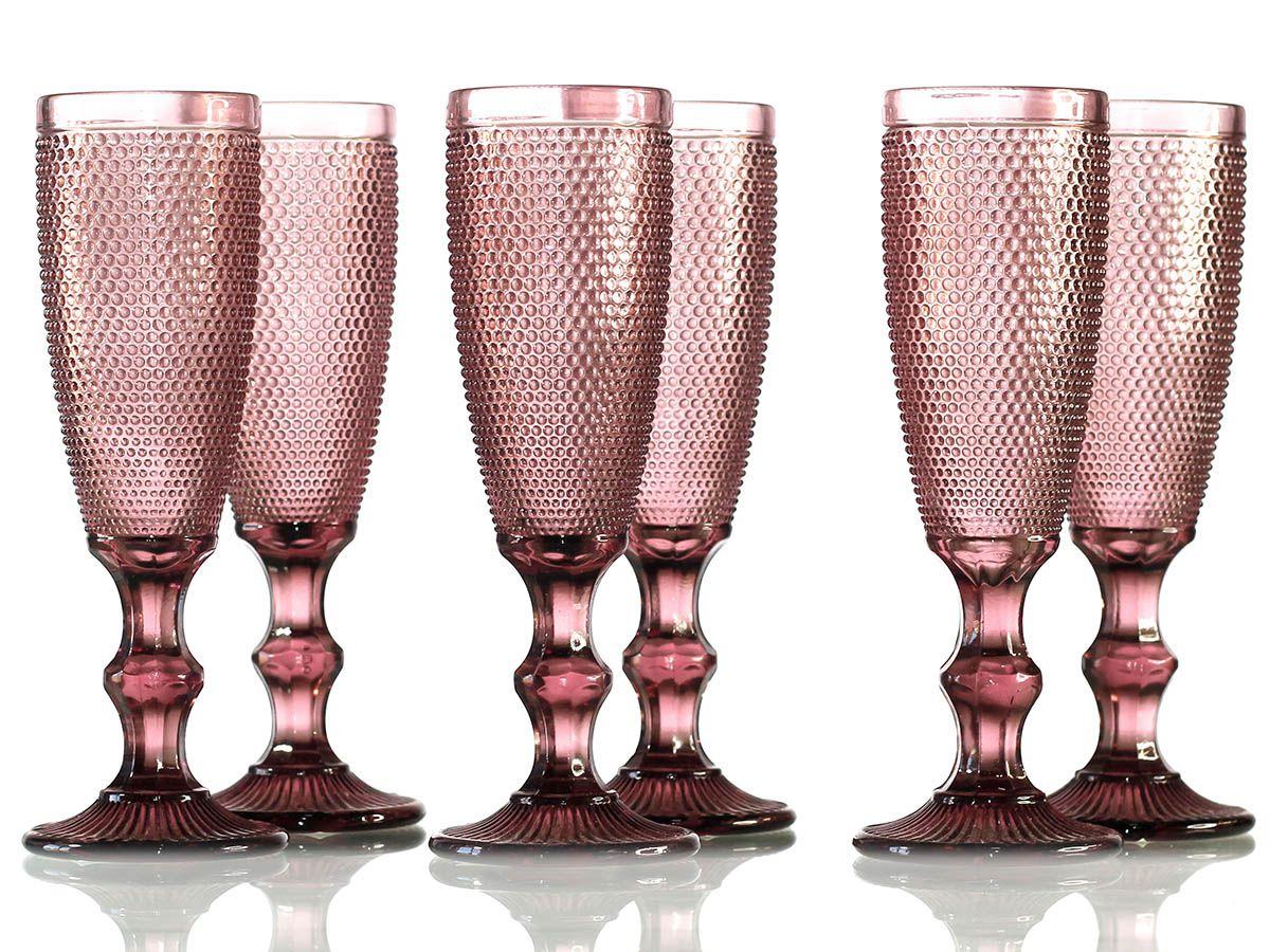 Jogo de Taças Bolinha para Champagne em Vidro Bordo de 200 ml com 06 Peças