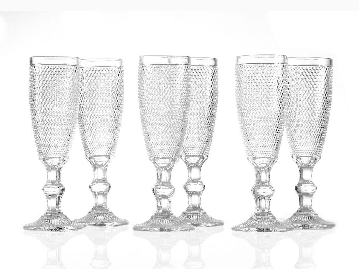 Jogo de Taças Bolinha para Champagne em Vidro Transparente de 200 ml com 06 Peças