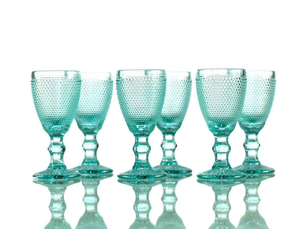 Jogo de Taças Bolinha para Licor em Vidro Azul Tiffany de 40 ml com 06 Peças