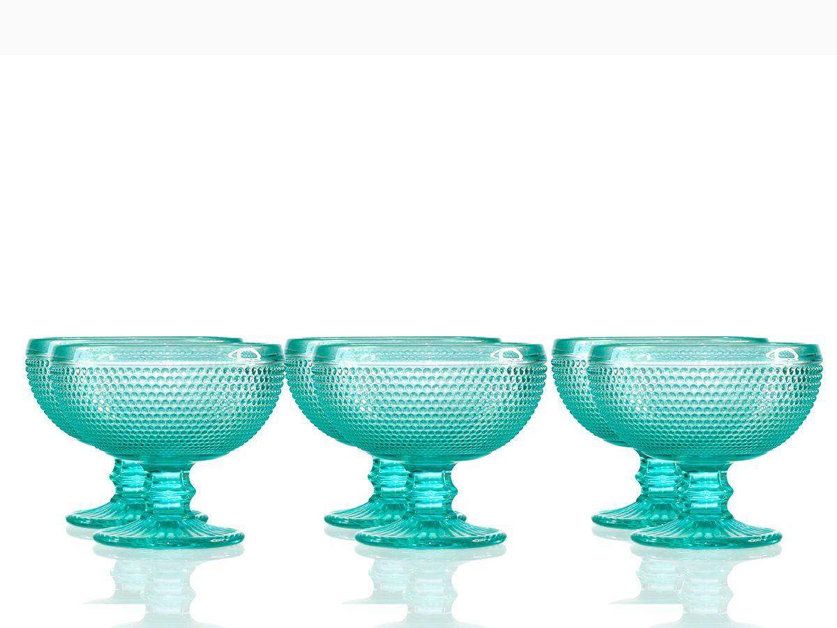 Jogo de Taças Bolinha para Sobremesa em Vidro Azul Tiffany com 06 Peças