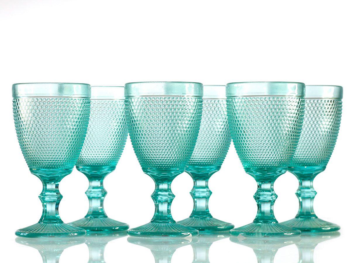 Jogo de Taças Bolinha para Vinho em Vidro Azul Tiffany de 280 ml com 06 Peças