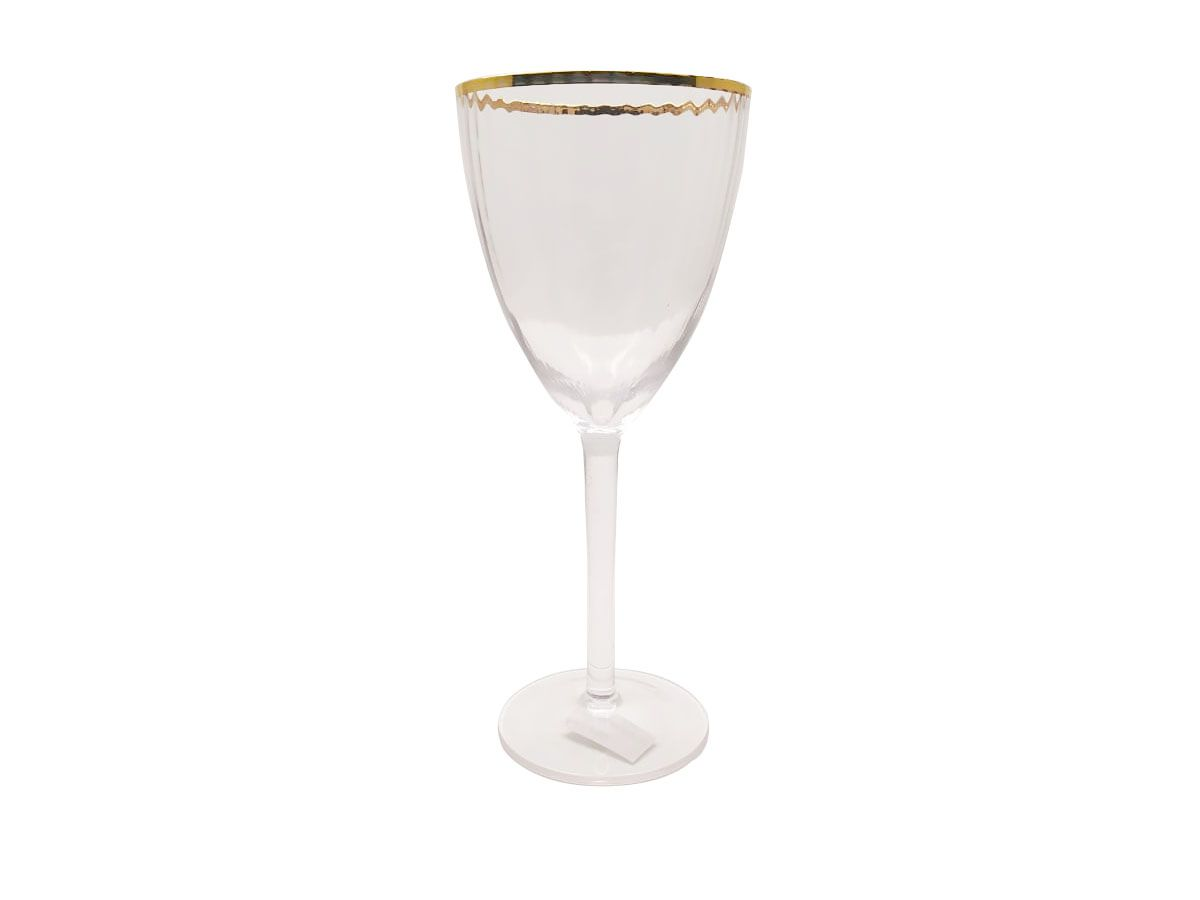 Jogo de Taças para Vinho em Cristal com borda Dourada com 06 - 350ml