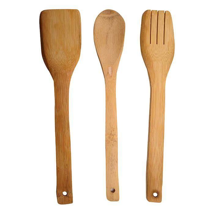 Jogo De Talheres Bambu Kit Com 3 Peças