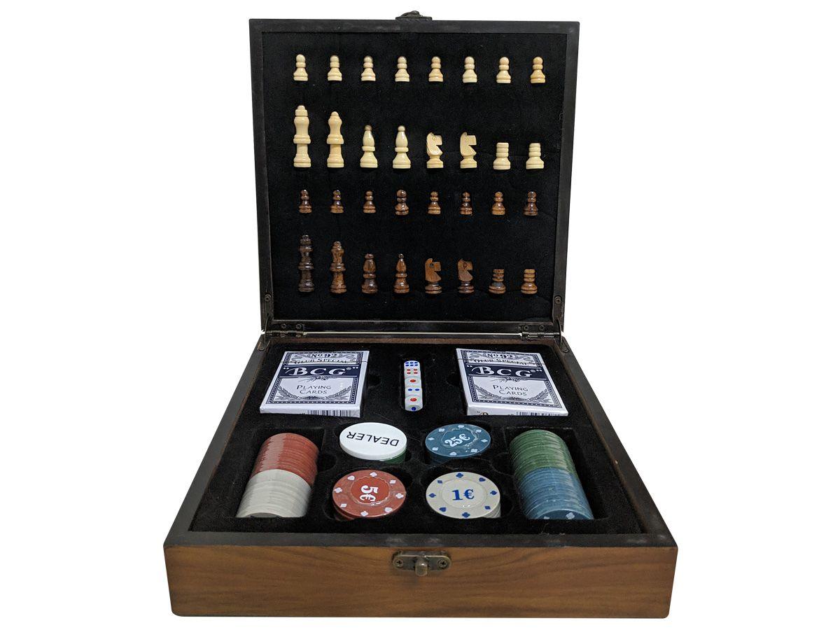 Jogo De Xadrez Com Poker Caixa Madeira Luxo