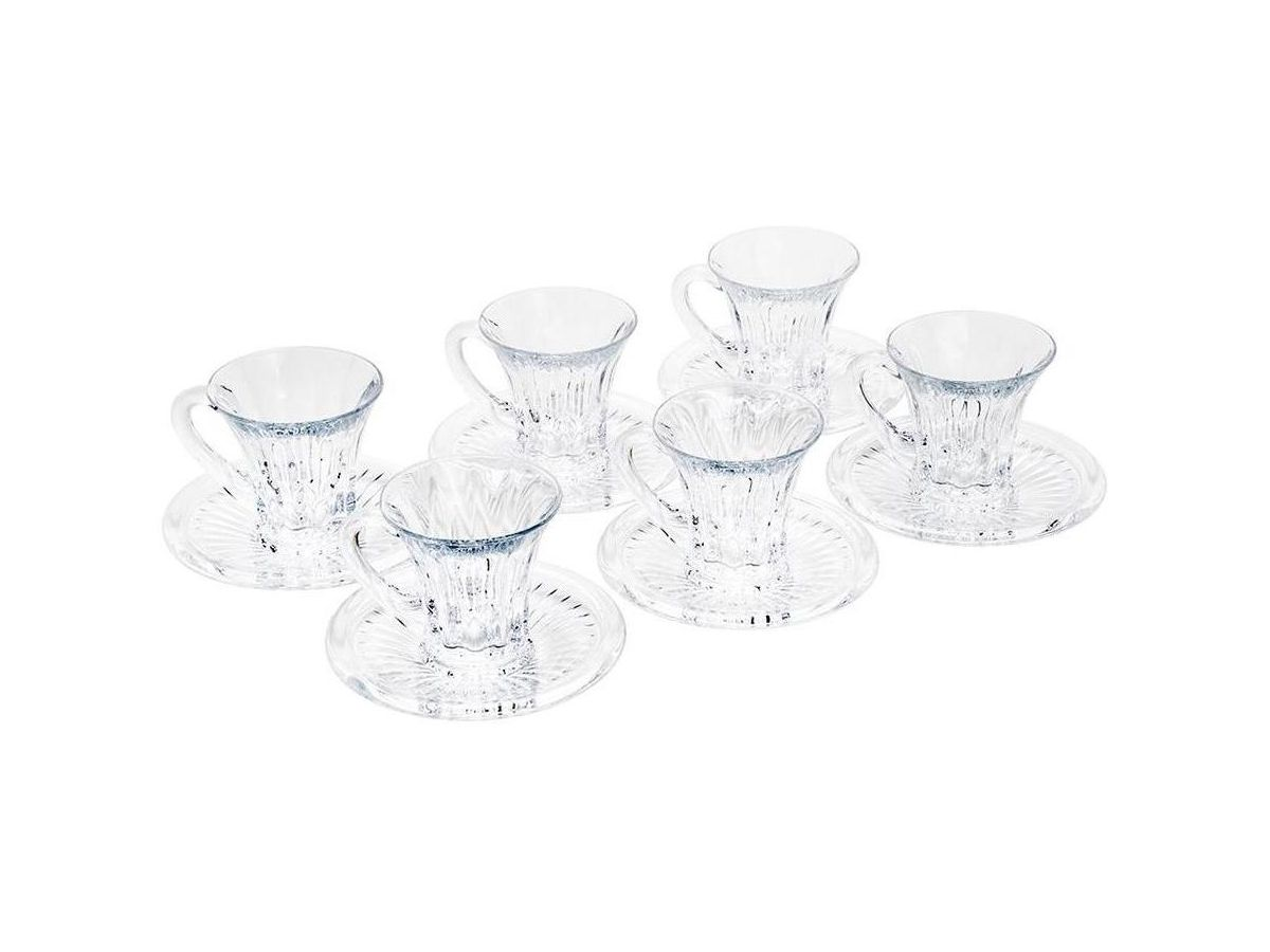 Jogo de Xícaras para Café 12 Peças de Cristal Diamond Transparente