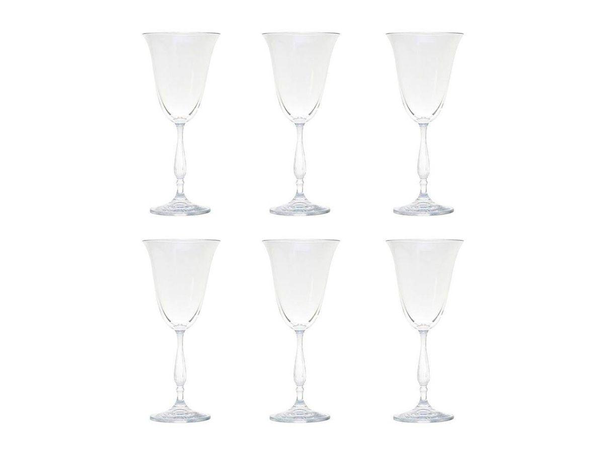 Jogo Taças Vinho Tinto Cristal Transp Titânio Antik 250ml 6 Un