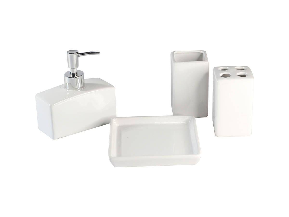Kit Banheiro Lavabo Ceramica Branco 4 Peças