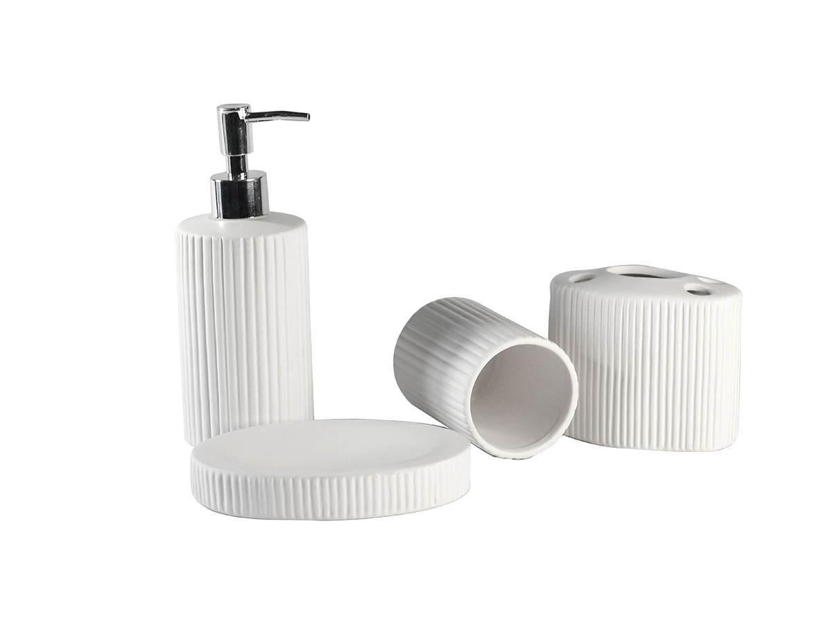 Kit Banheiro Lavabo Ceramica Plissado 4 Peças