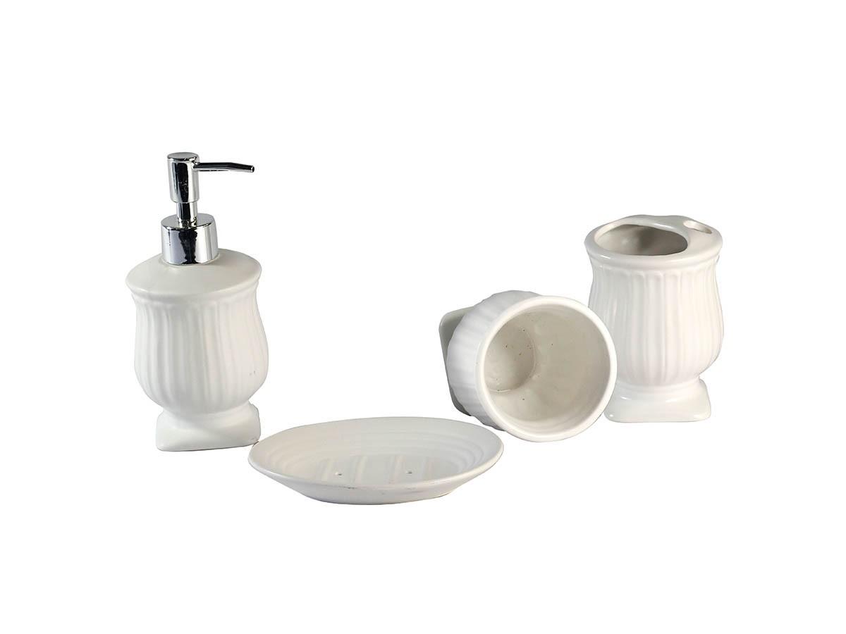 Kit Banheiro Lavabo Ceramica Romano Branco 4 Peças