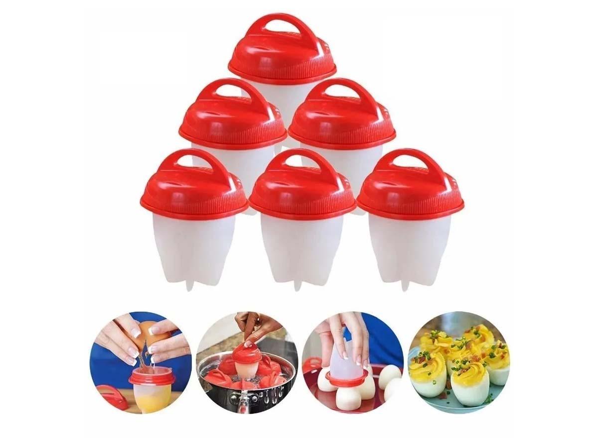 Kit de formas para cozinhar ovos em silicone com 06 peças - 07 x 09 cm