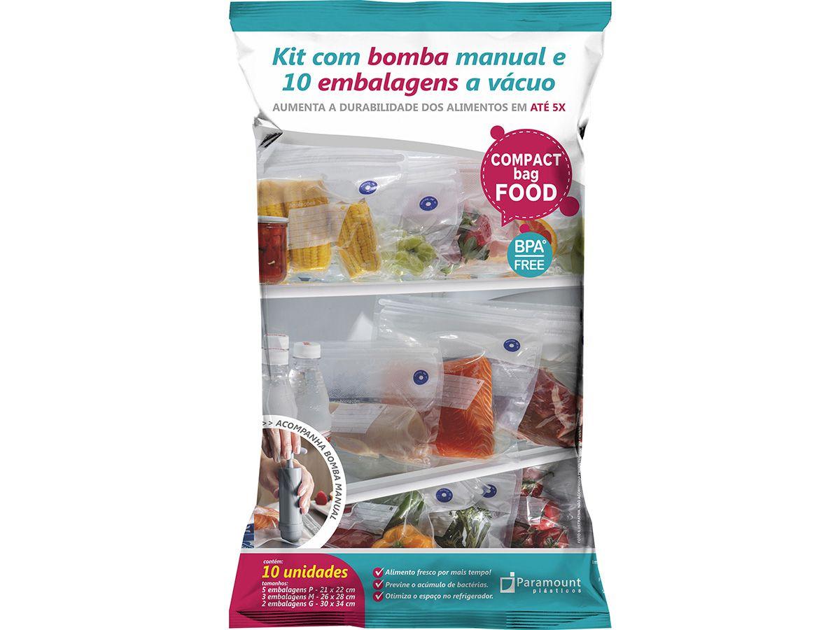 Kit Embalagem A Vacuo C/10 E Bomba Manual