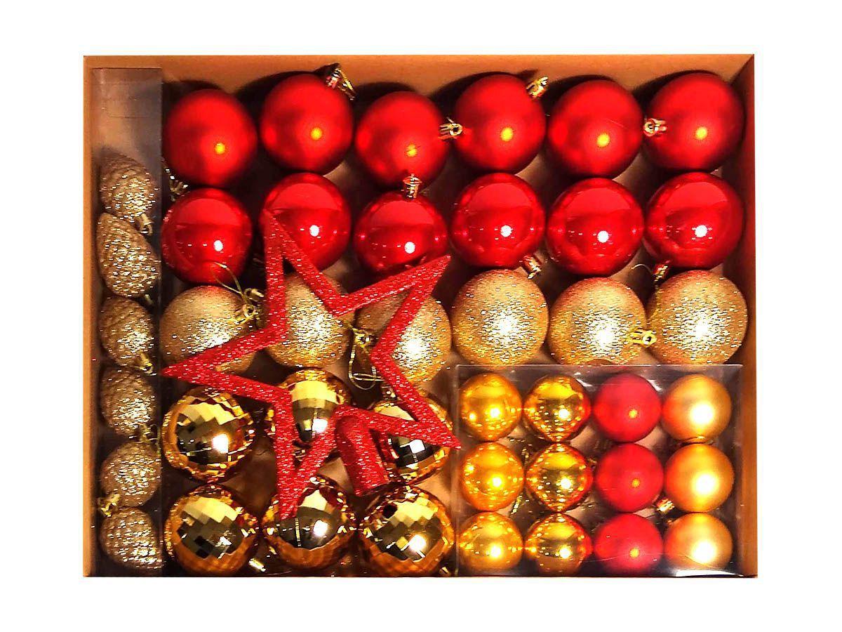 Kit Enfeite Arvore De Natal Bola Ponteira 43Pçs Vermelho Dourado