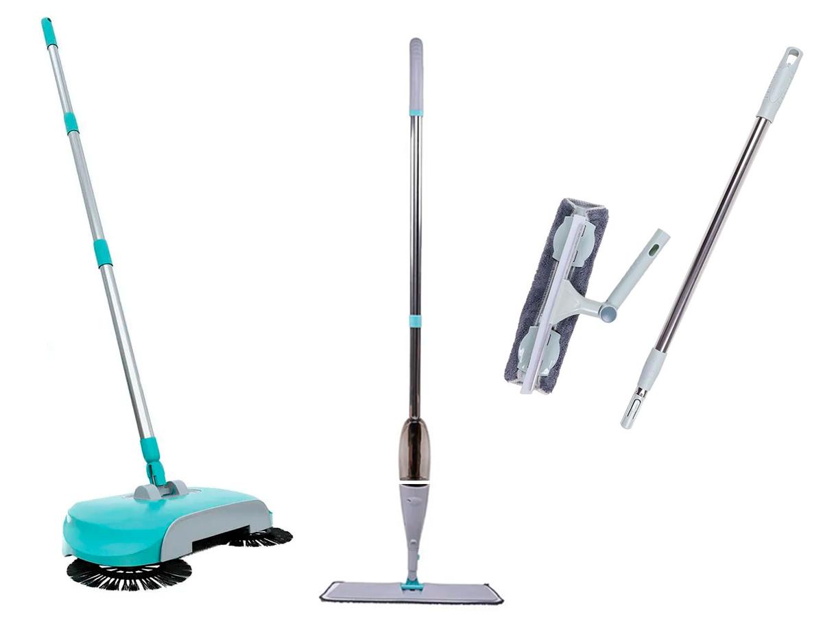 Kit Limpa Vidros Mop Spray e Vassoura Magica Flash Limp Lyor