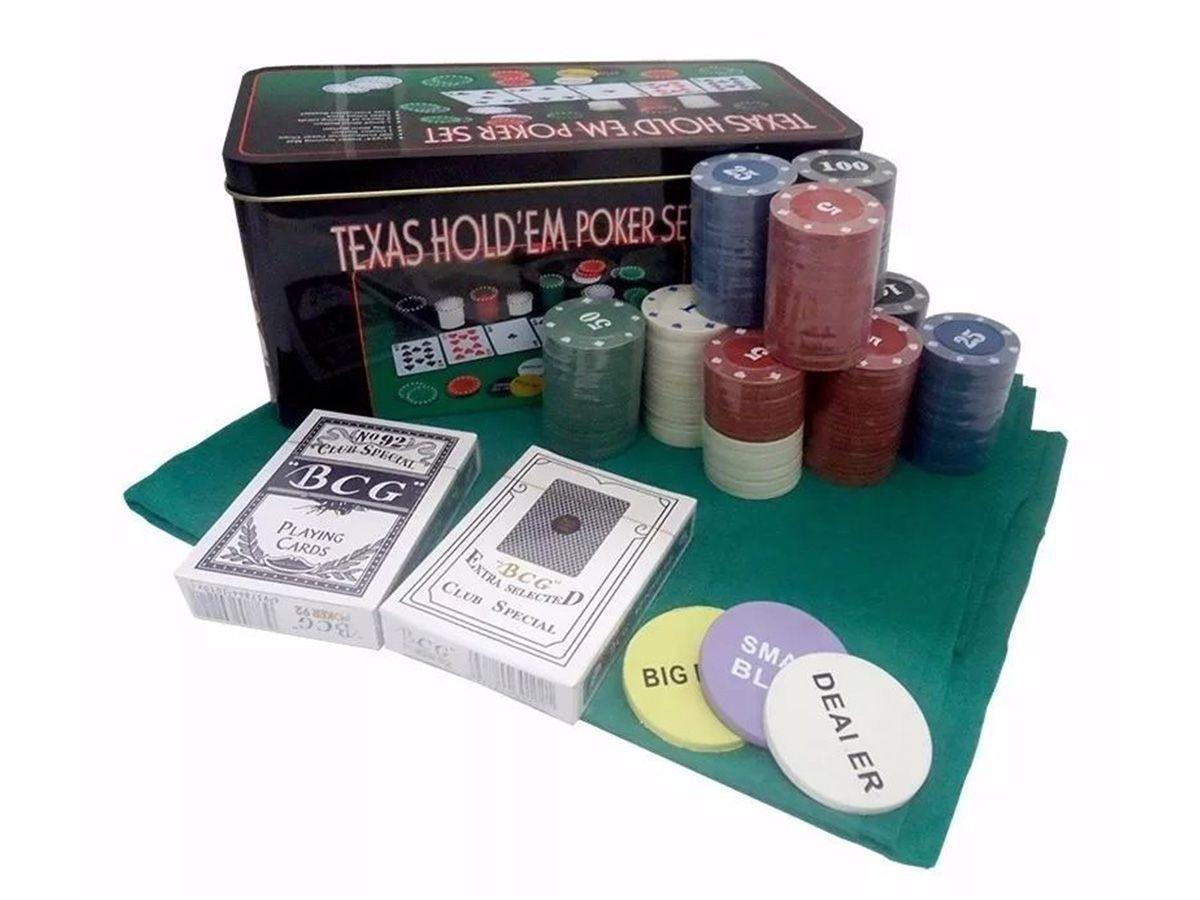 Kit Jogo Lata De Poker 200 Fichas Numeradas Texas Hold'Em