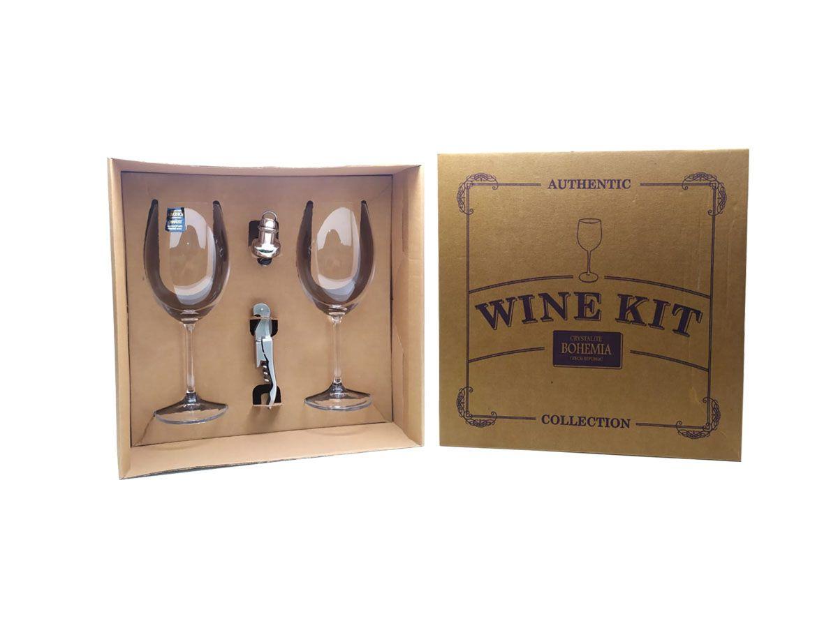 Kit para Vinho com 02 Taças em Cristal, Abridor e Tampa - Bohemia Authentic Collection