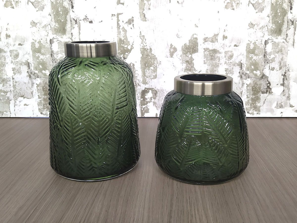 Kit Vaso de Vidro Folhagem Borda Metal 2 Peças Verde