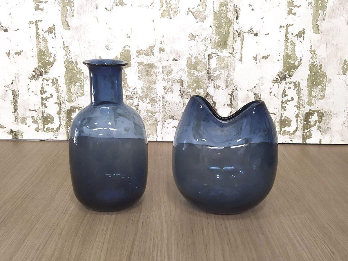 Kit Vaso e Garrafa de Vidro 2 Peças Azul