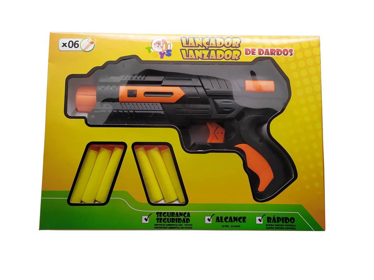 Lançador de dardos com pistola e 06 dardos