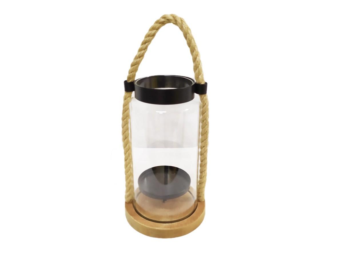 Lanterna de vidro com alça, base em madeira e alça com corda - 21 x 8,5 x12,5 cm
