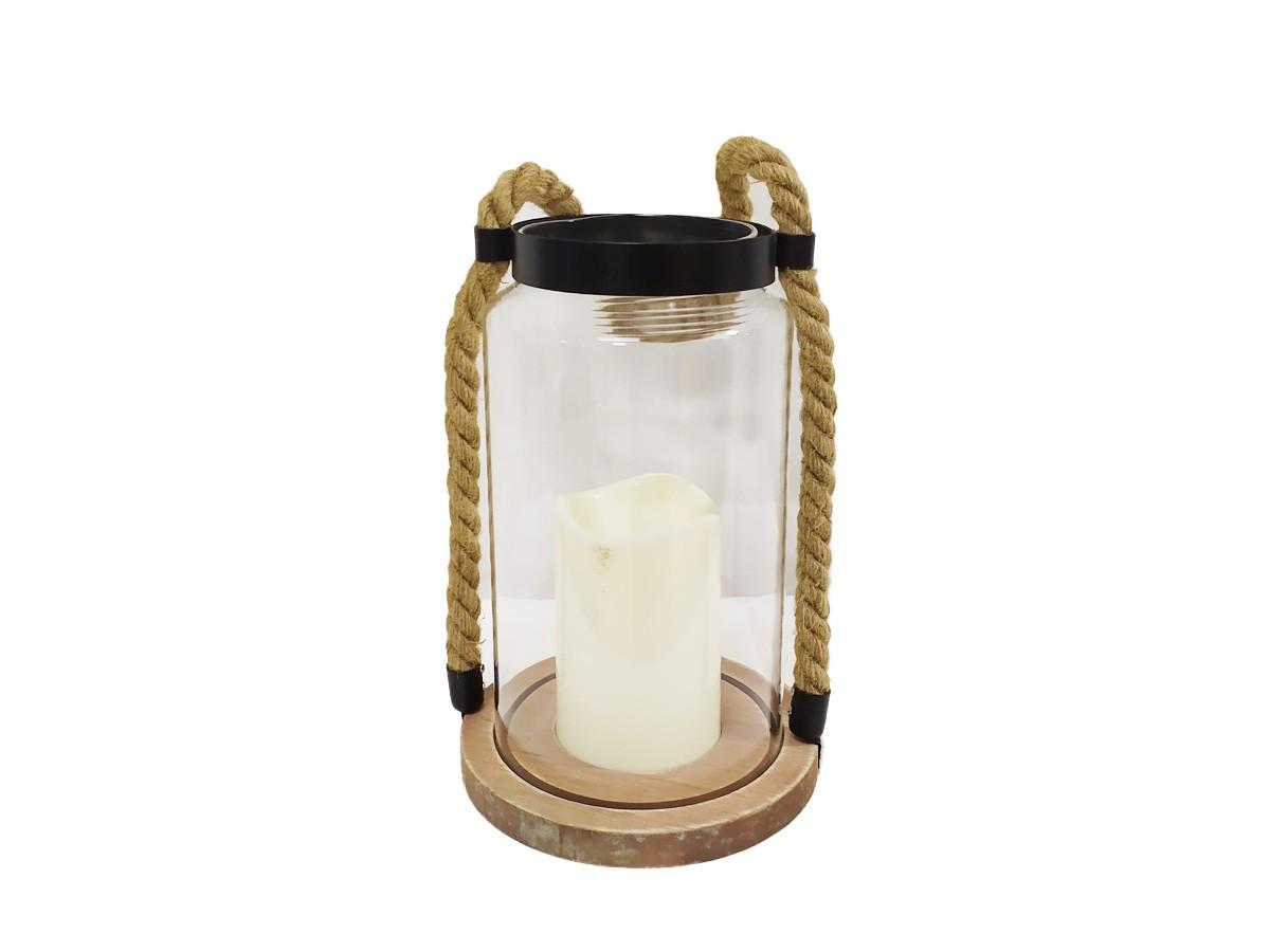 Lanterna de Vidro com alça de corda e vela - 21 x 9 x 13 cm
