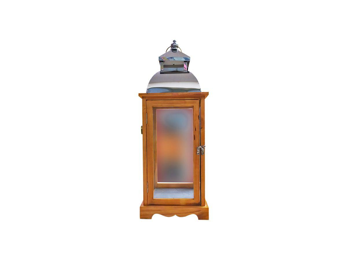 Lanterna Marroquina de Madeira e Vidro com Teto de Metal 44x15,5 cm