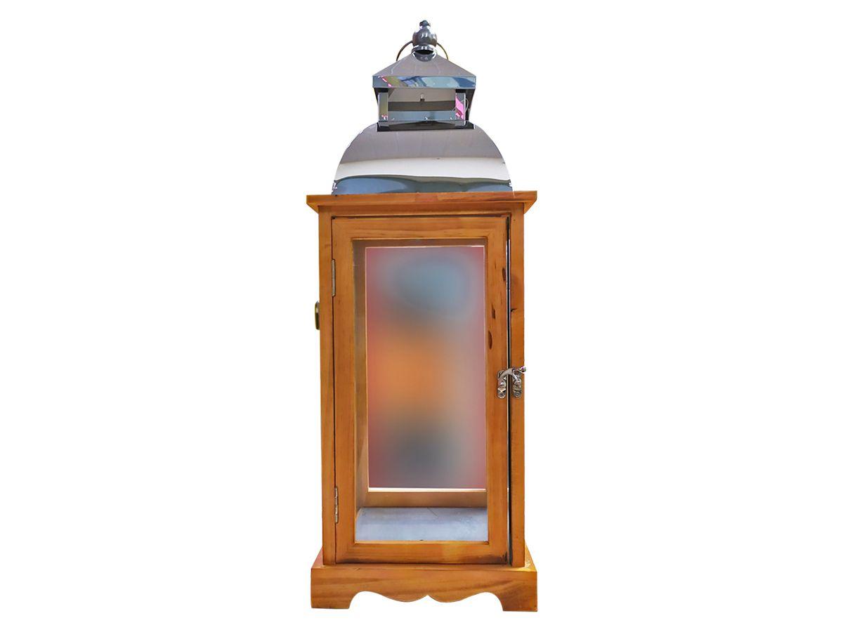 Lanterna Marroquina de Madeira e Vidro com Teto de Metal 64x22 cm