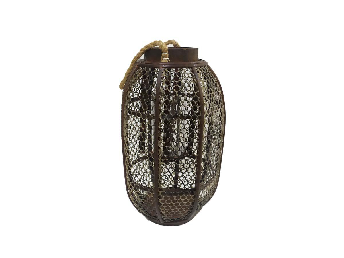 Lanterna rústica aramada em madeira com corda - 39 x 21 cm