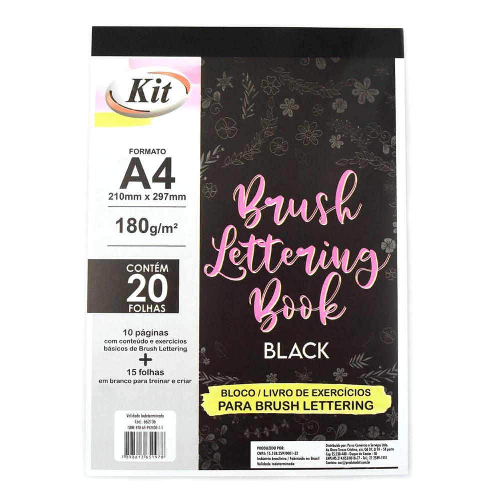 Livro Bloco Lettering A4 180g 25folhas Preto - Kit