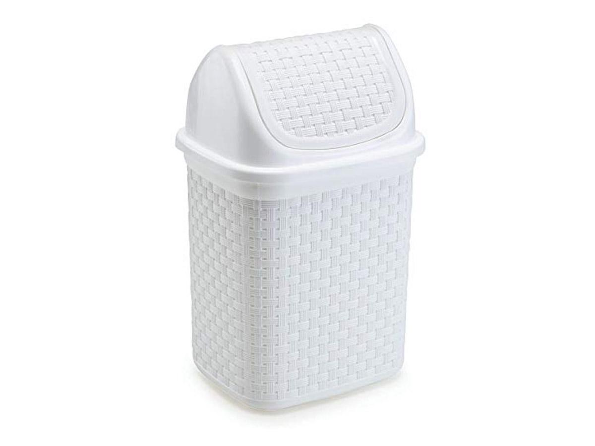 Lixeira de Pia Rattan Basculante 4,5 Litros Branca
