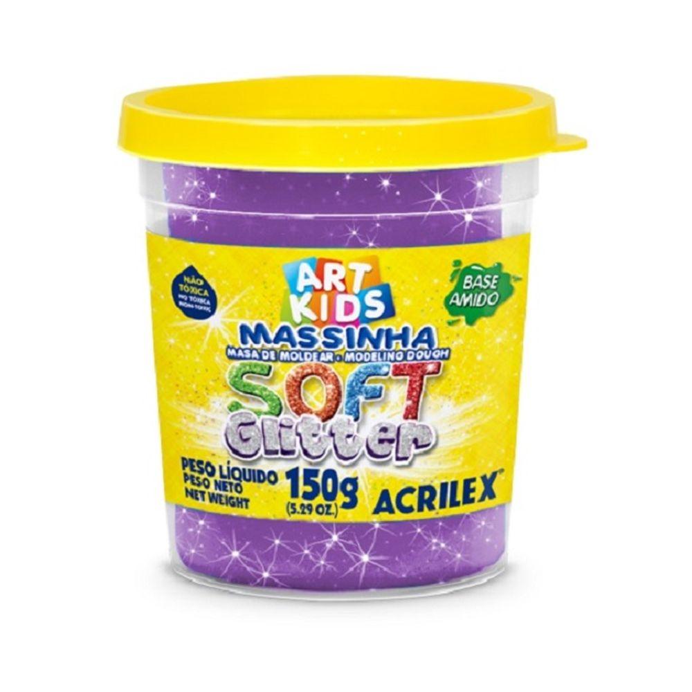 Massa Modelar Soft Glitter 150G Violeta