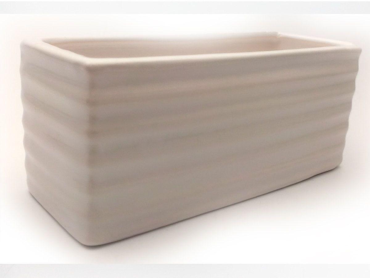 Mini Floreira De Ceramica Retangular Ondulada Branco 15,5X6,5Cm