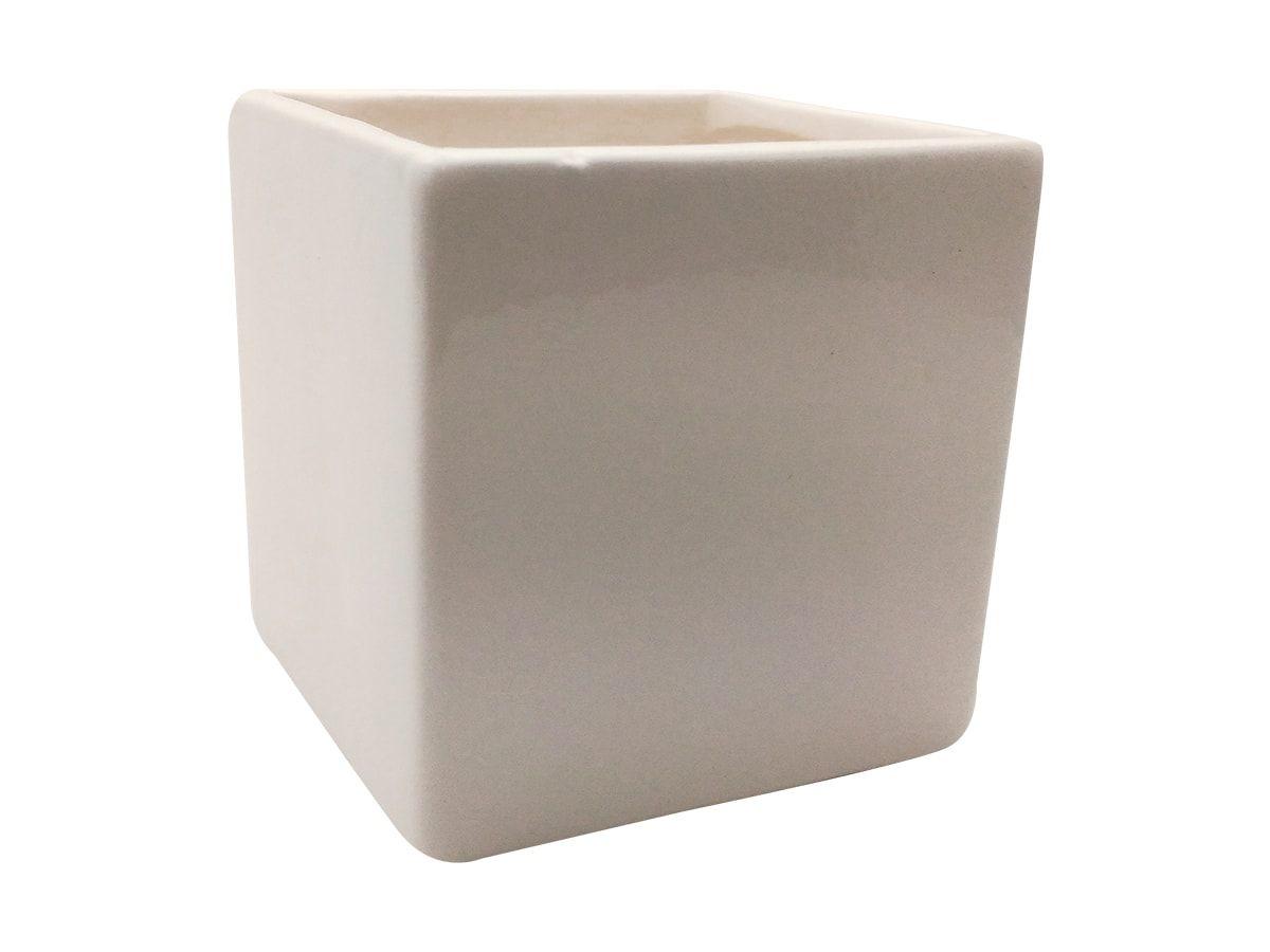 Mini Vaso Cerâmica Liso Branco 10X10Cm