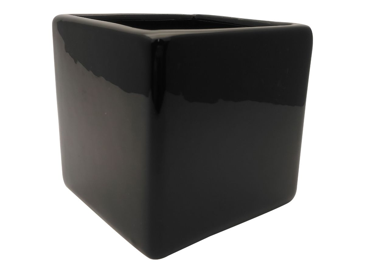 Mini Vaso Cerâmica Liso Preto 10,5X10Cm