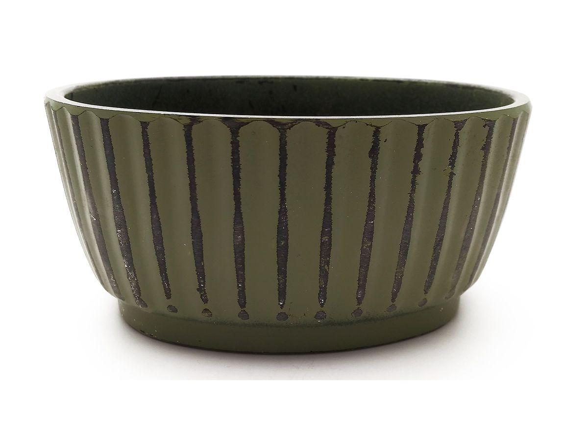 Mini Vaso De Melamina Oval Plissado Verde 10X4Cm