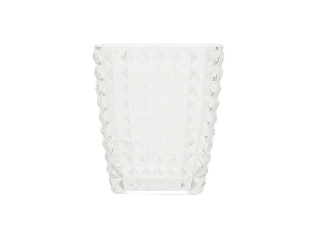 Mini Vaso de Vidro Bricks Transparente - 8,2 x 8,2 x 9,5 cm