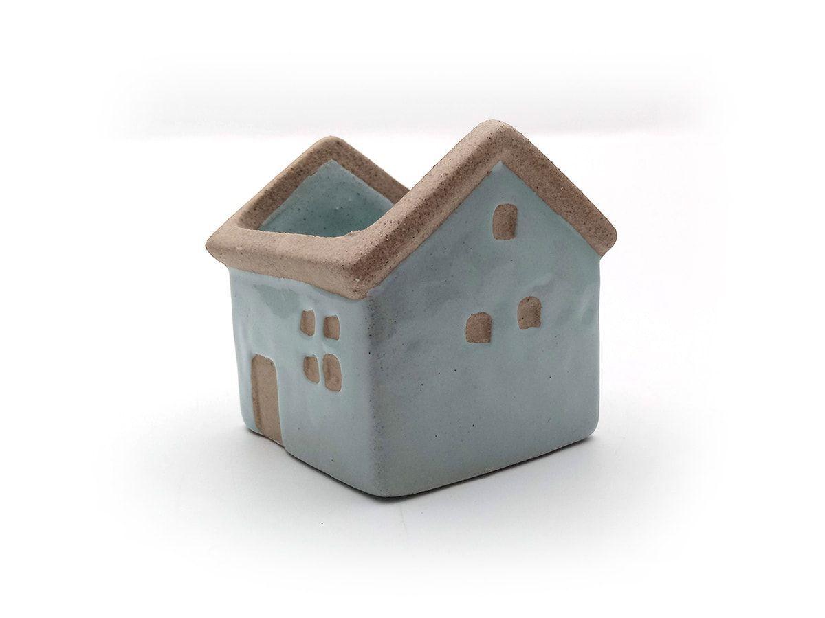 Mini Vaso Enfeite Cerâmica Rustico Casa Azul 6,5X7Cm