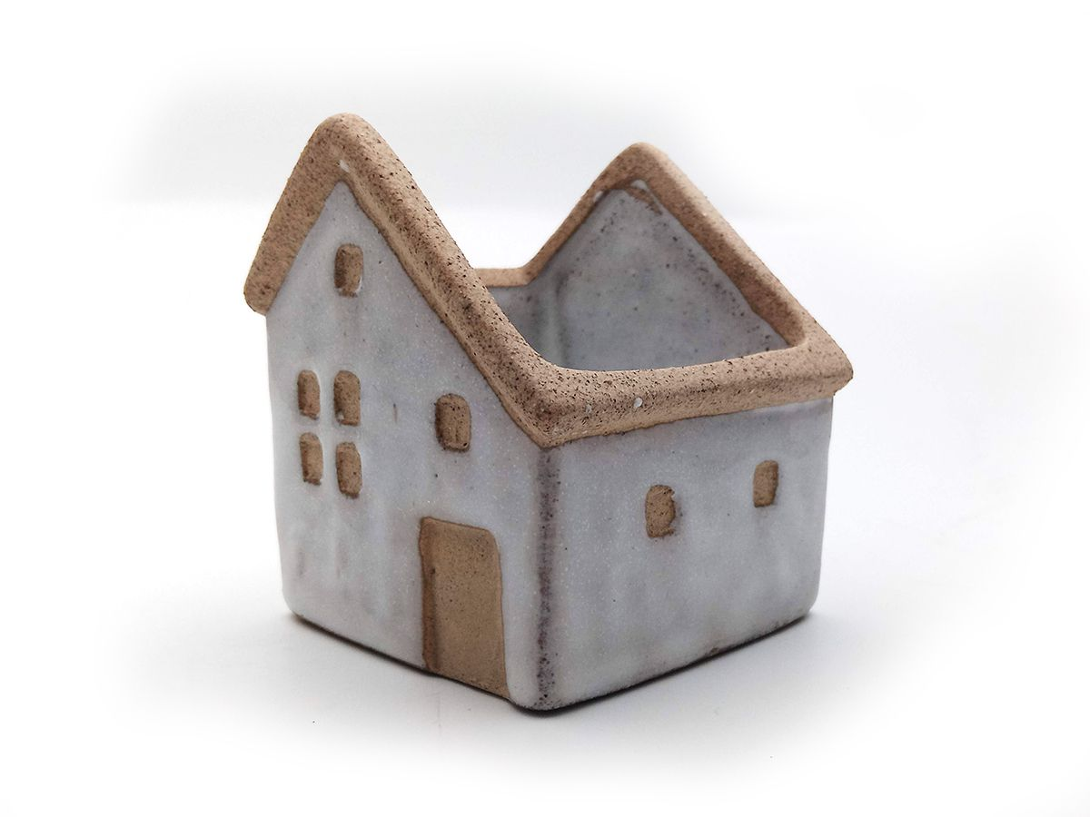 Mini Vaso Enfeite Cerâmica Rustico Casa Cinza 6,5X7Cm