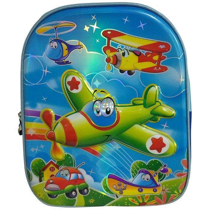 Mochila Creche Com Relevo Holografico Aviao Azul