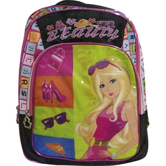 Mochila Escolar Infantil 3 Div Beauty Preta Rosa