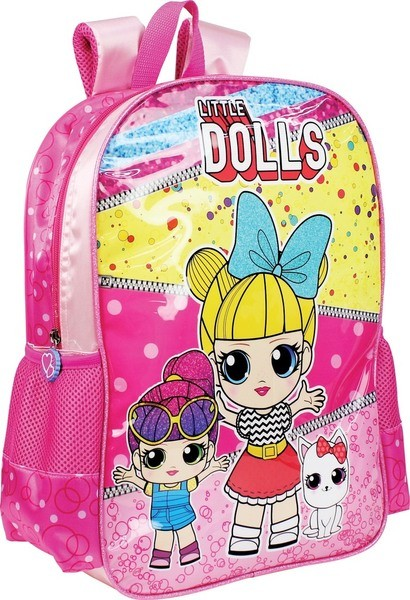 Mochila Escolar Infantil Little Dolls Rosa