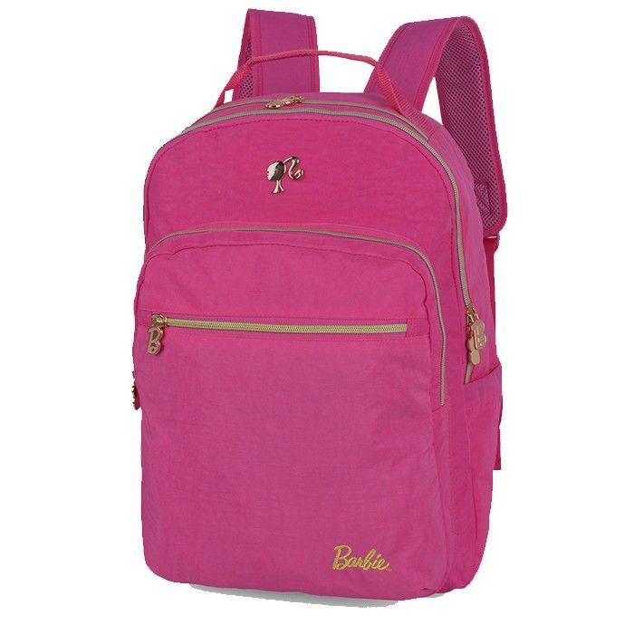 Mochila Laptop Nylon Barbie Com Chaveiro Pelúcia Pink