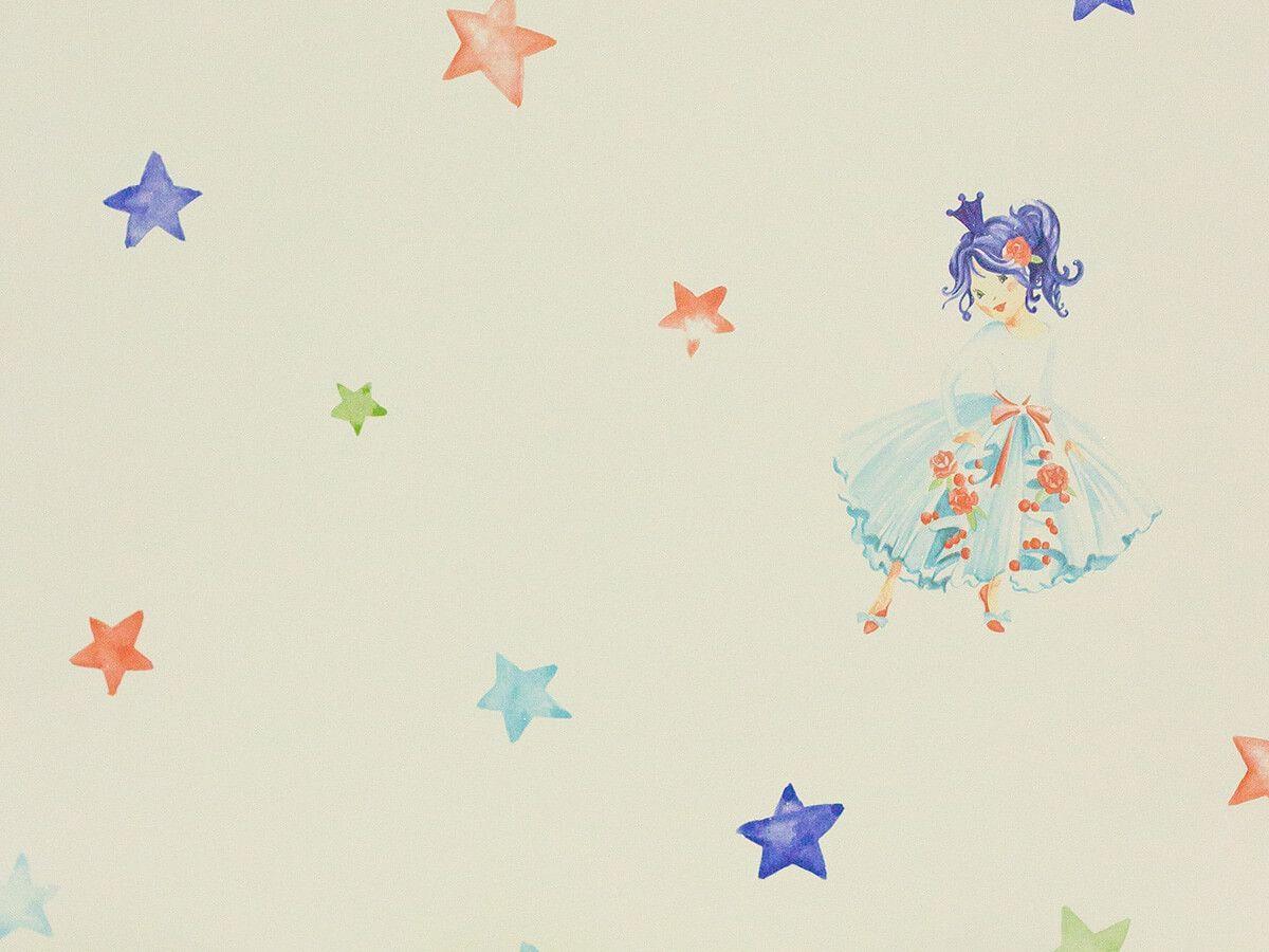Papel De Parede Infantil Aquarela Verde Agua Princesa Com Estrelas - 390606