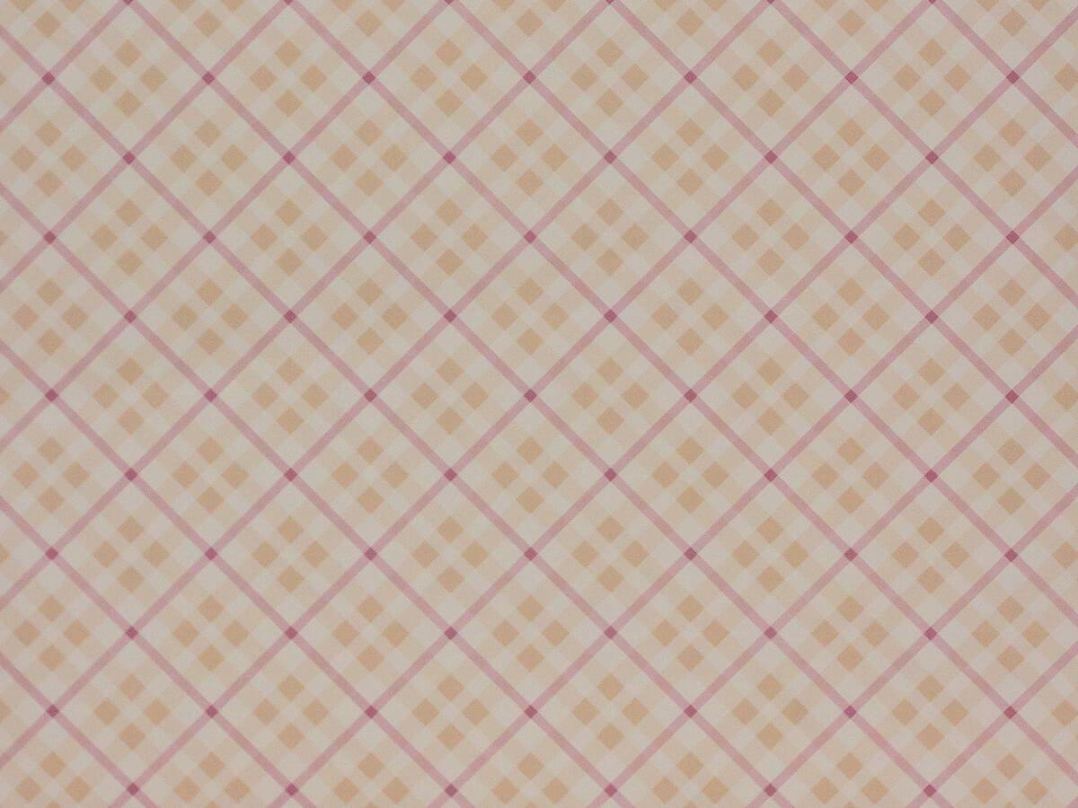 Papel De Parede Infantil Xadrez Pastel Com Bege E Vinho - 390203