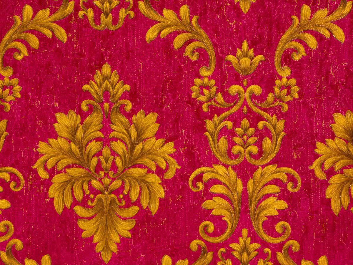 Papel De Parede Liso Arabesco Colonial Vermelho E Conhaque - 87017