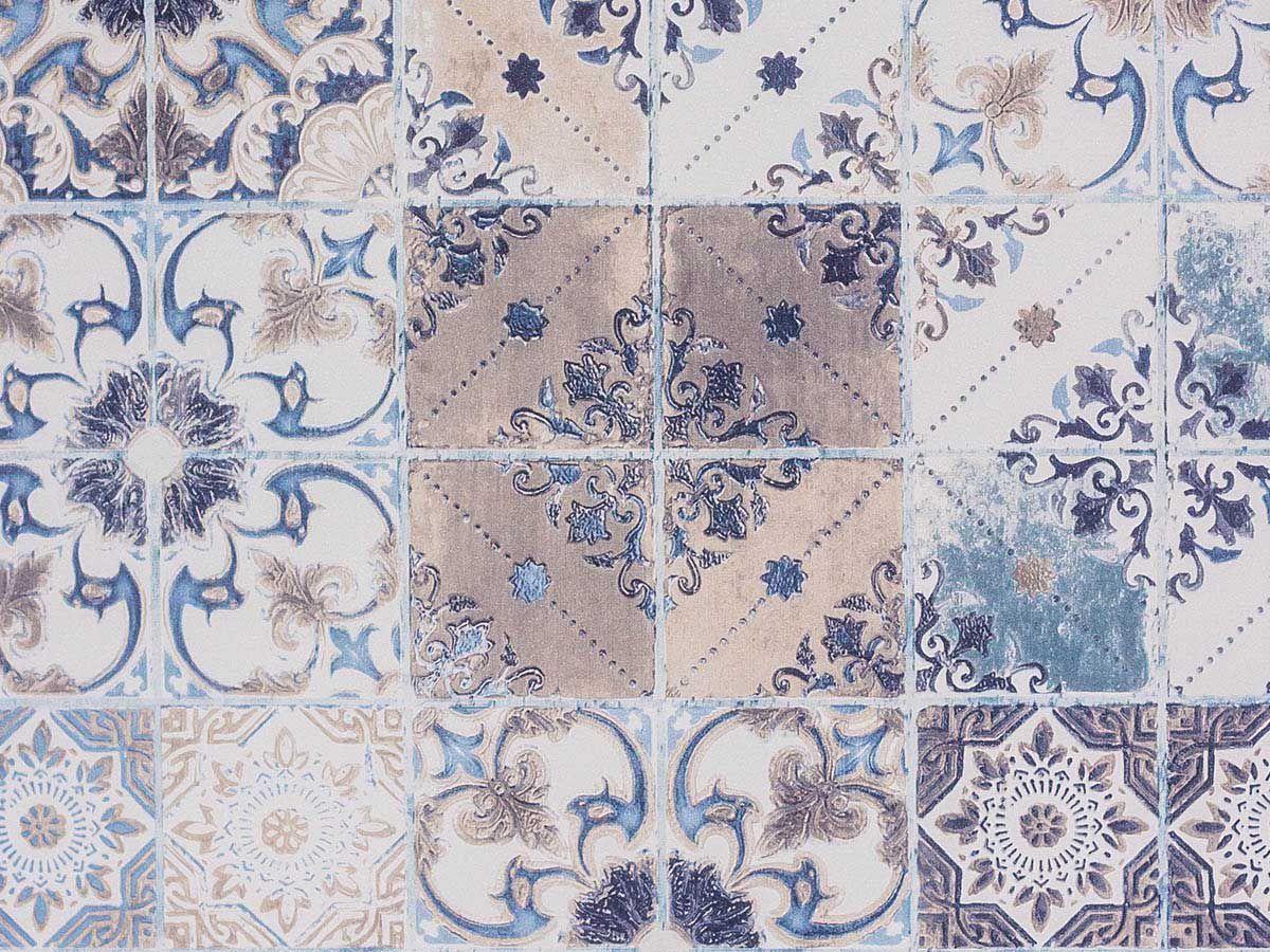 Papel De Parede Liso Azulejo Português Azul Bege E Branco - 372401