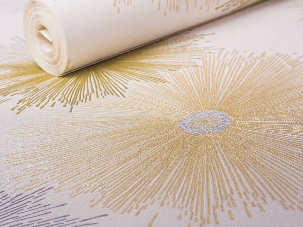 Papel De Parede Liso Floral Abstrato Branco, Prata E Bege - 87022