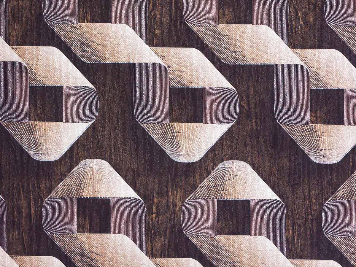 Papel De Parede Liso Geometrico Marrom E Nude 3D - 1012