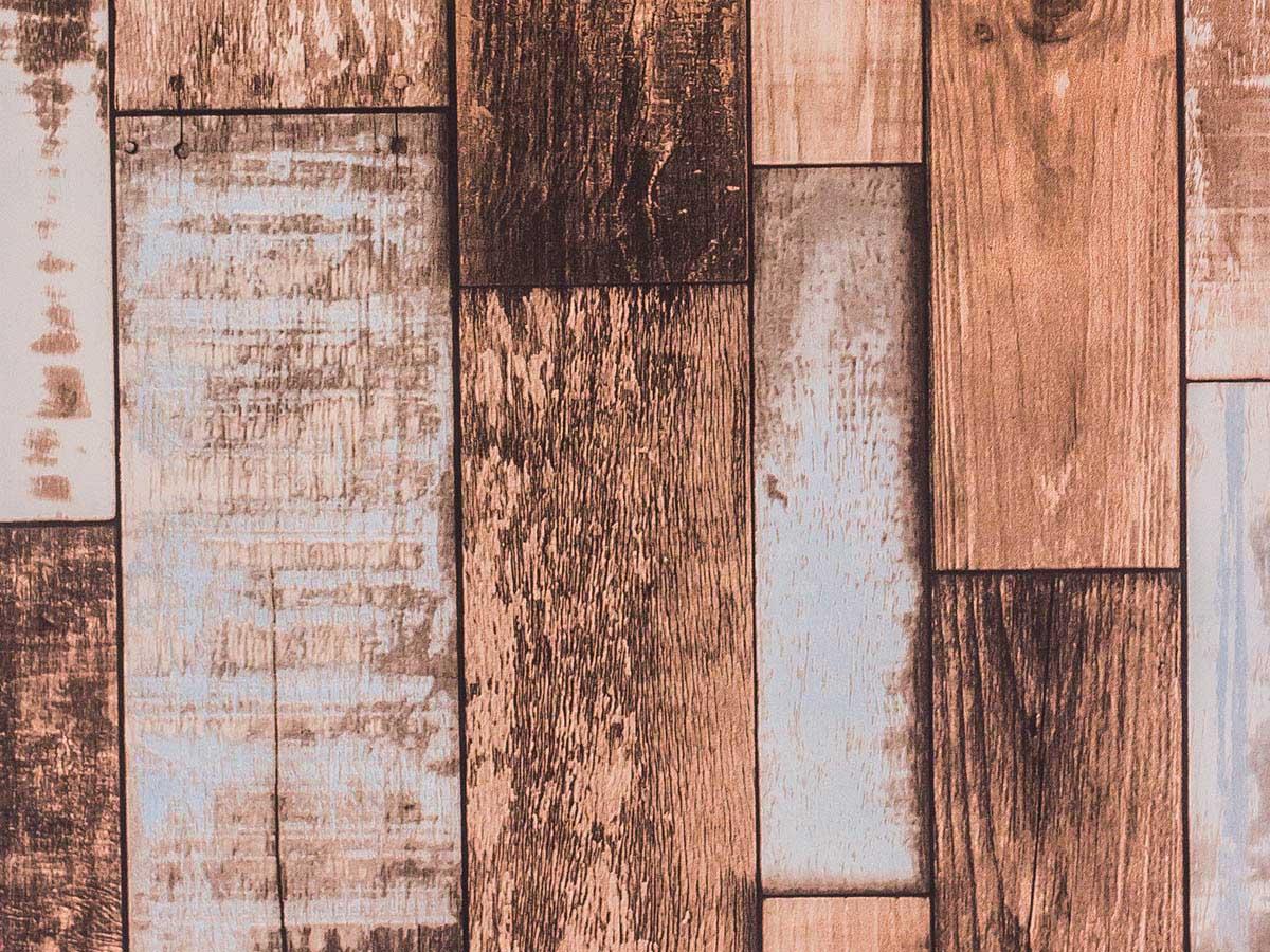 Papel De Parede Liso Madeira Envelhecida Marrom Azul E Bege - 373801