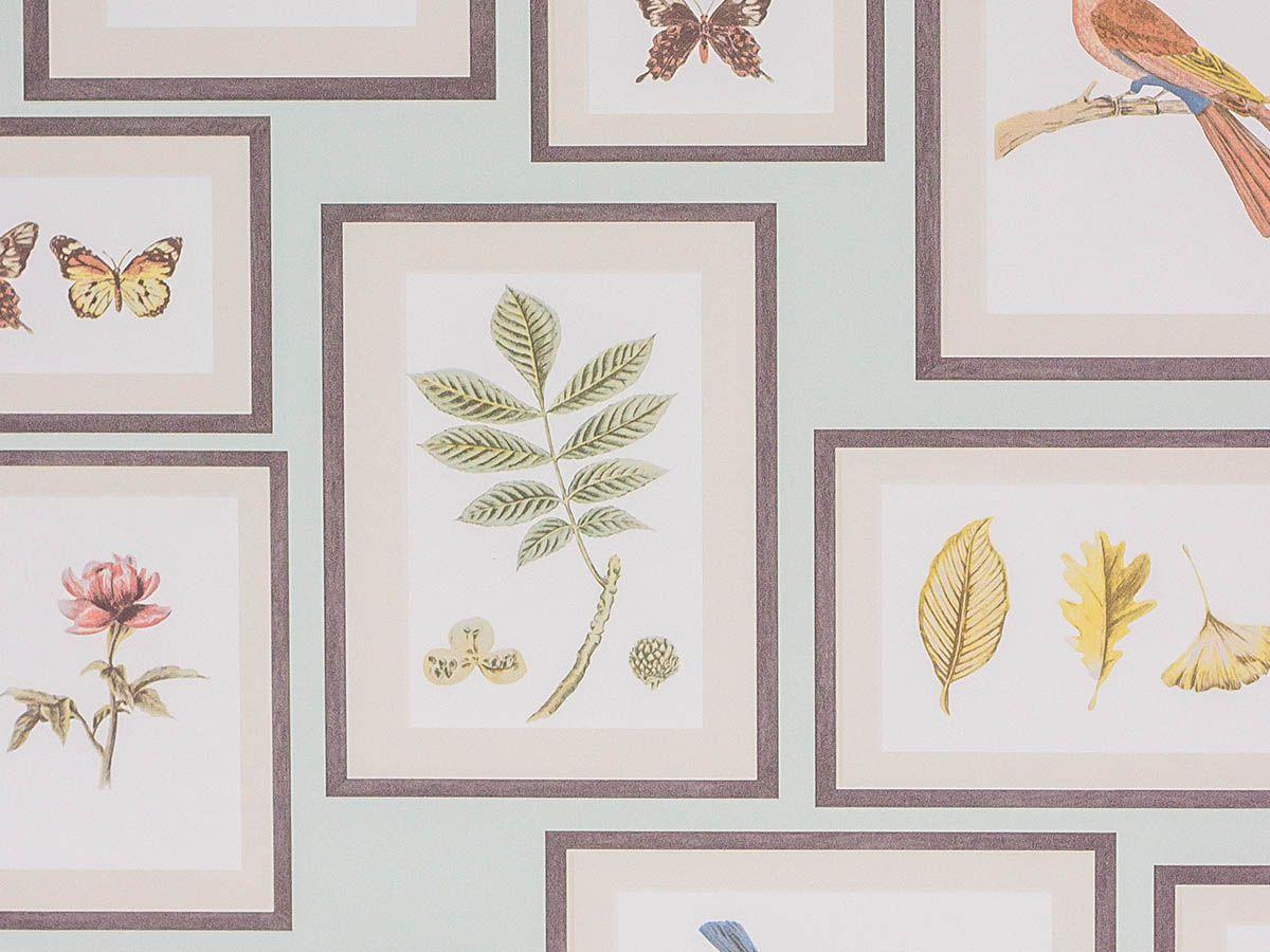 Papel De Parede Liso Quadro Pássaros Galhos Verde Claro - 371301