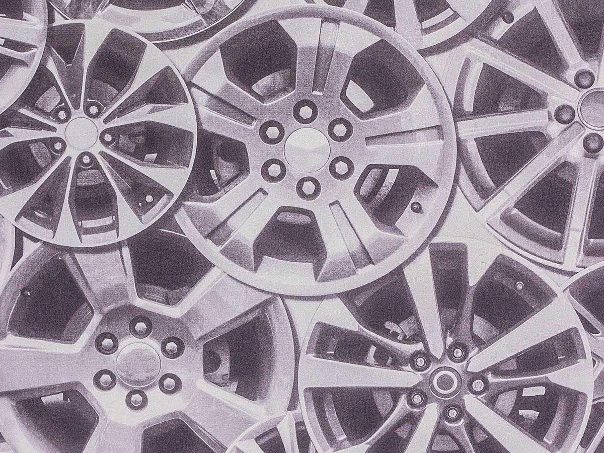 Papel De Parede Liso Roda Automotiva Tom Cinza - 372501